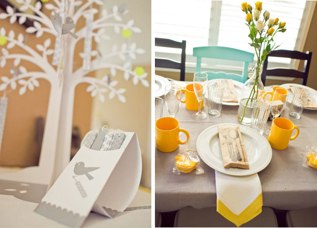 spring table top, yellow flowers, baby shower