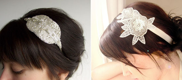 Grecian Silver Crystal Beaded Headband Bridal Headpiece by Atelier
