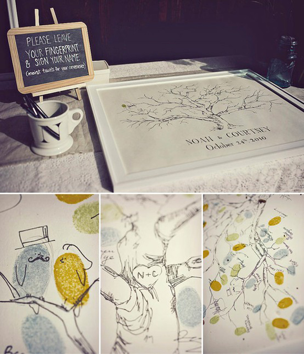 Wedding guestbook, fingerprints, leaves