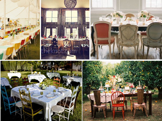 Vintage mismatched chairs, wedding chairs
