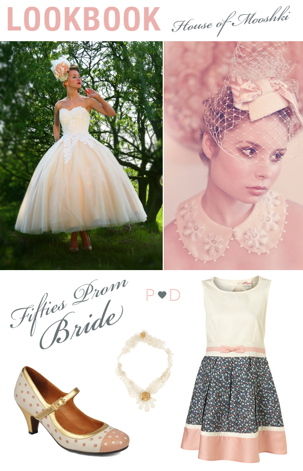 A tealength 1950s vintage style strapless gown with a sweetheart neckline