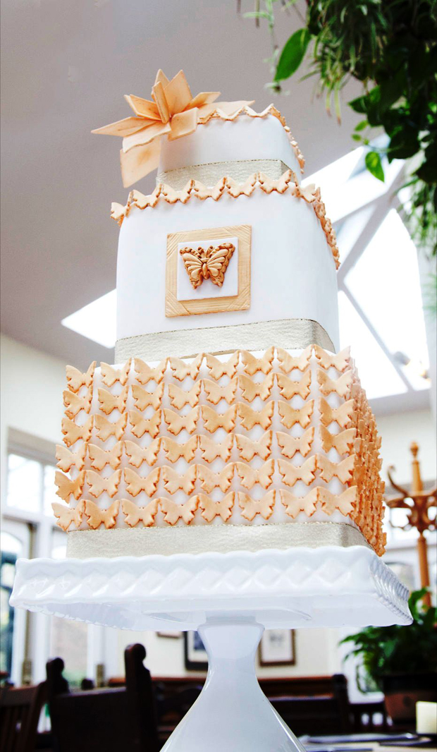 wedding cake cakes by beth gold 3 tier square cake butterfly