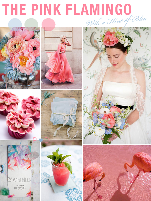 Pink, Blue, Flamingo, Floral Garland, mood board, pink, Wedding Inspiration