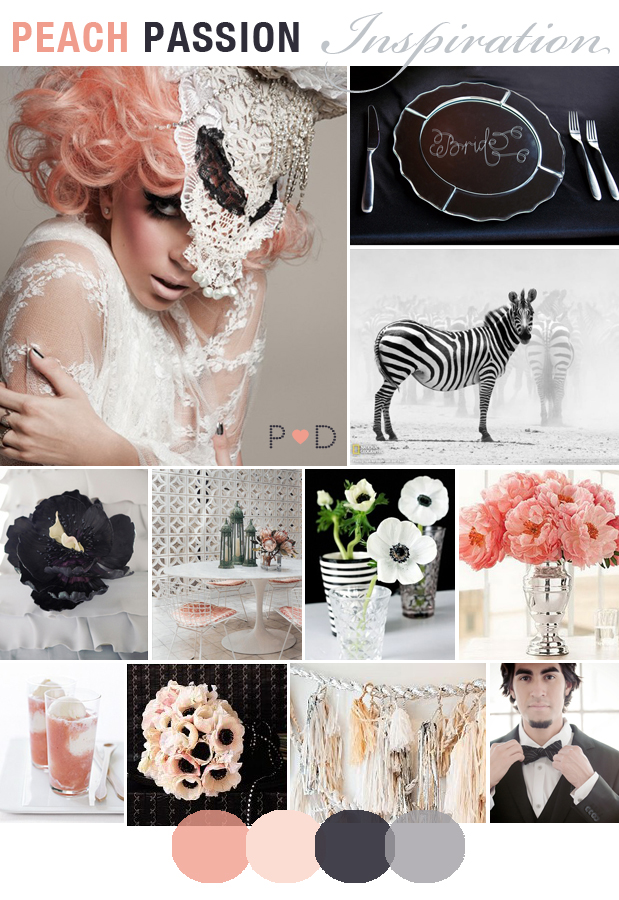 Peach Passion, Mood Board, Wedding Inspiration, Peach, Black, Grey, Wedding, Cake, Flowers, Tassles, Lace