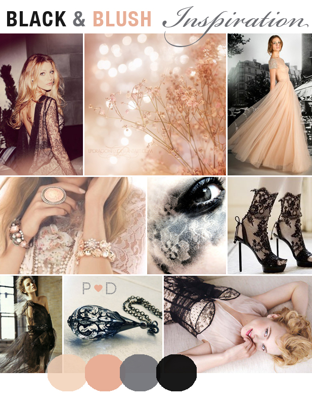 Vera Wang Bridal, Blush, Black, Lace, Pinks, Wedding, Bridal, Inspiration, Mood Boards (3)