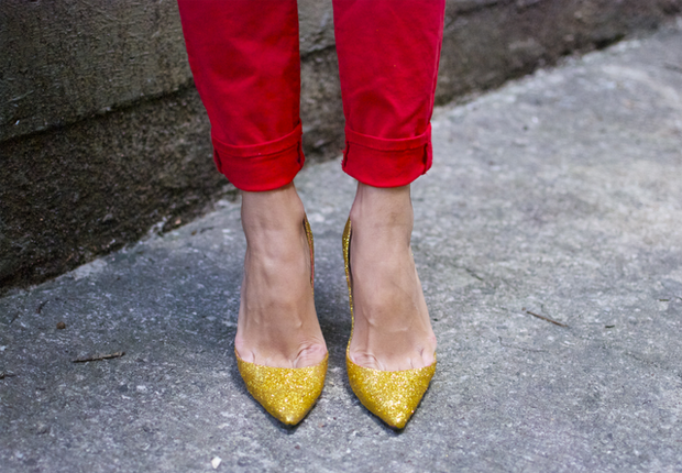 Miu Miu inspired Louboutin Gold Glitter Pumps by A Pair and a Space