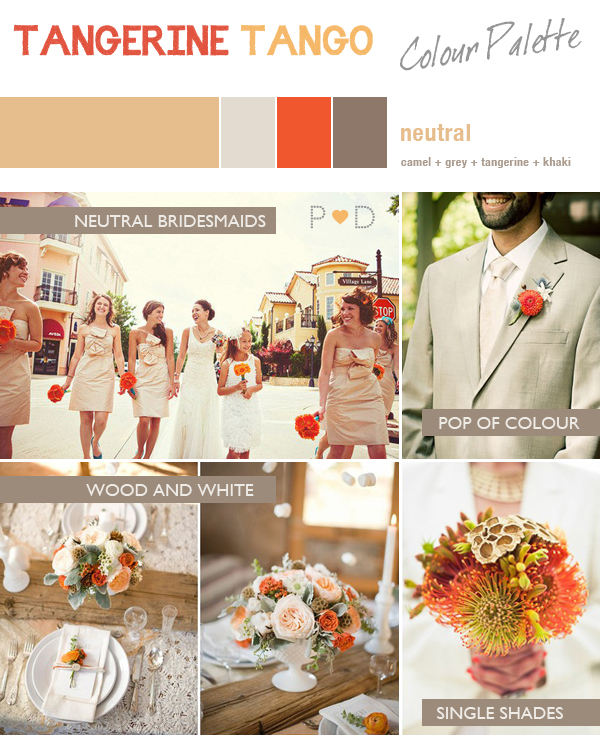 Tangerine Tango, Orange Colour palette, Orange and Neutrals Colour palette, Orange, Khaki, Camel, Cream, Gold, SIlver, Grey,Orange Wedding, Orange Wedding Inspiration, Spring Wedding, Pantone Colour of the year 2012, Orange mood Board, Orange Bridal Inspiration Board