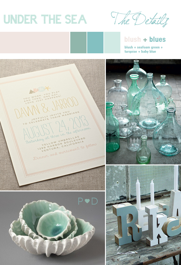 Under The Sea Trend, Wedding Inspiration, Wedding Mood Boards, Wedding Style, Blues, Greens, Pearl, Pale, Blush, Seaside Inspiration, Pocketful of Dreams, Wedding Planner, Wedding Designer North West, Wedding Stylist North West (3)