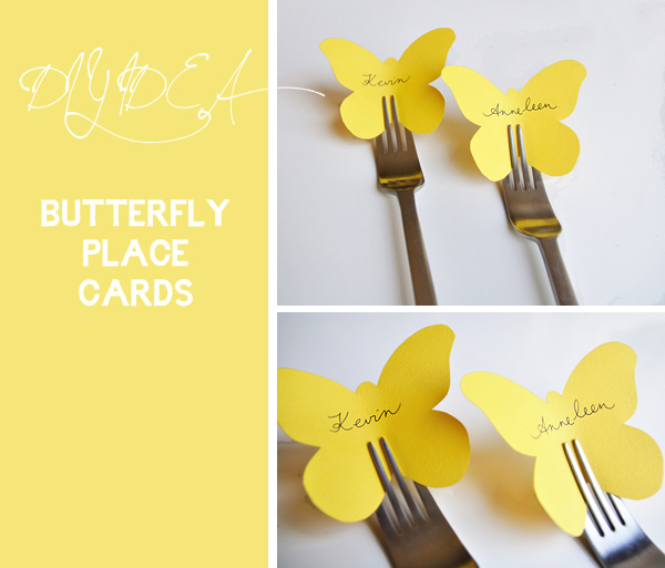 These butterfly place cards slide between the fingers of a fork creating a