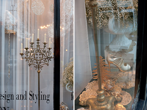 festive decadence, christmas styling, window styling, window dressing, decadent, golds and creams, indulgence, sumptuous, decadent design, Intricate Creations, Philippa Craddock Flowers, The State of Grace (3)