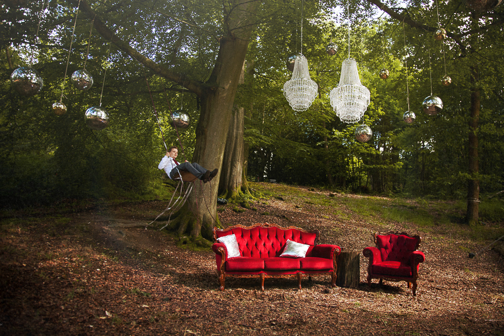 Pocketful of Dreams_matt parry photography_Red velvet furniture_chandeliers_tom Dixon Lights_outdoor_woodland