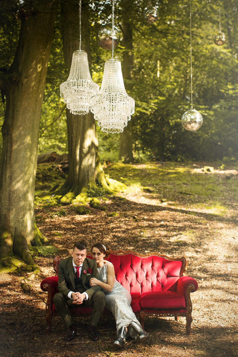 Pocketful of Dreams_matt parry photography_Red velvet furniture_chandeliers_tom Dixon Lights_outdoor_woodland_cool couple
