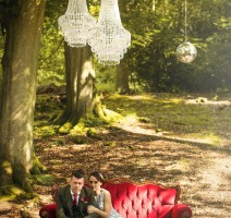 Pocketful of Dreams, Wedding planners, wedding planning, matt parry photography, Red velvet furniture, chandeliers in trees, tom Dixon Lights, outdoor wedding, woodland wedding, festival wedding